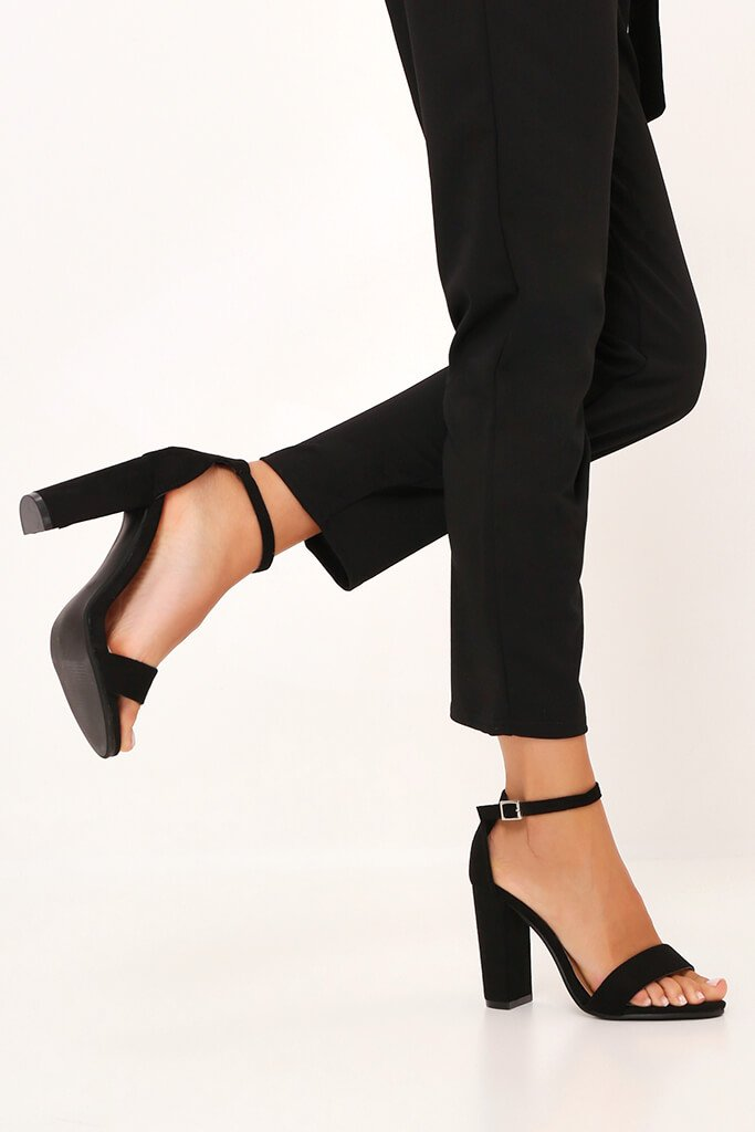 Black Block Heel Sandals view 2