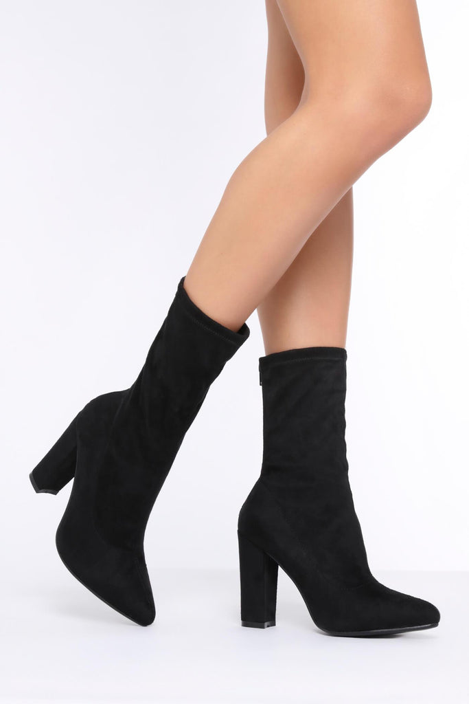 Black Suede Zip Back Sock Boots With Block Heel view main view