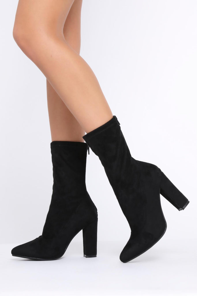 Black Suede Zip Back Sock Boots With Block Heel view 2