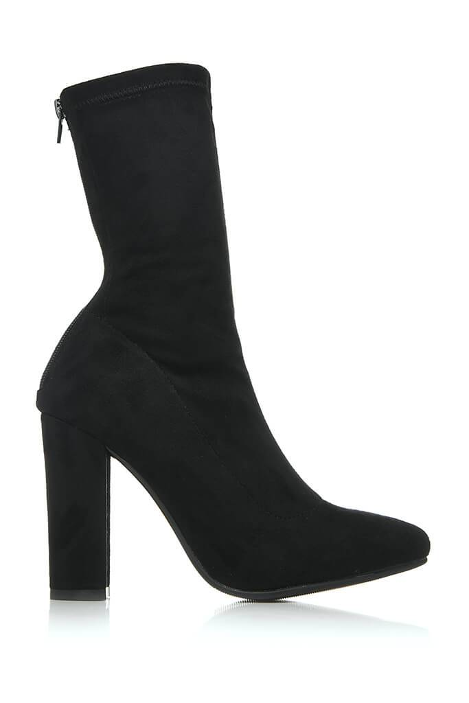Black Suede Zip Back Sock Boots With Block Heel view 4