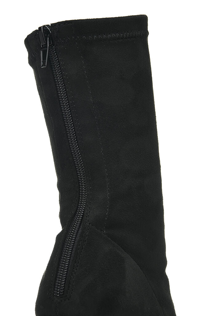 Black Suede Zip Back Sock Boots With Block Heel view 5