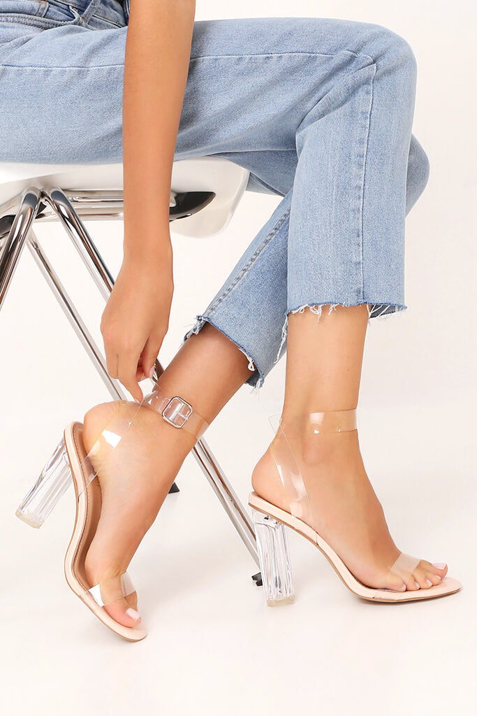 Nude Clear Strap And Perspex Block Heel Sandals