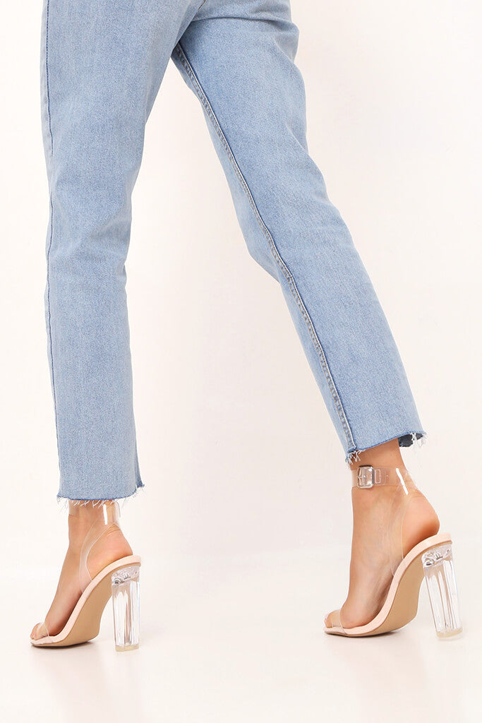 Nude Clear Strap And Perspex Block Heel Sandals view 3
