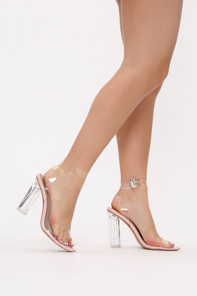 Baby Pink Clear Strap And Perspex Block Heel Sandals