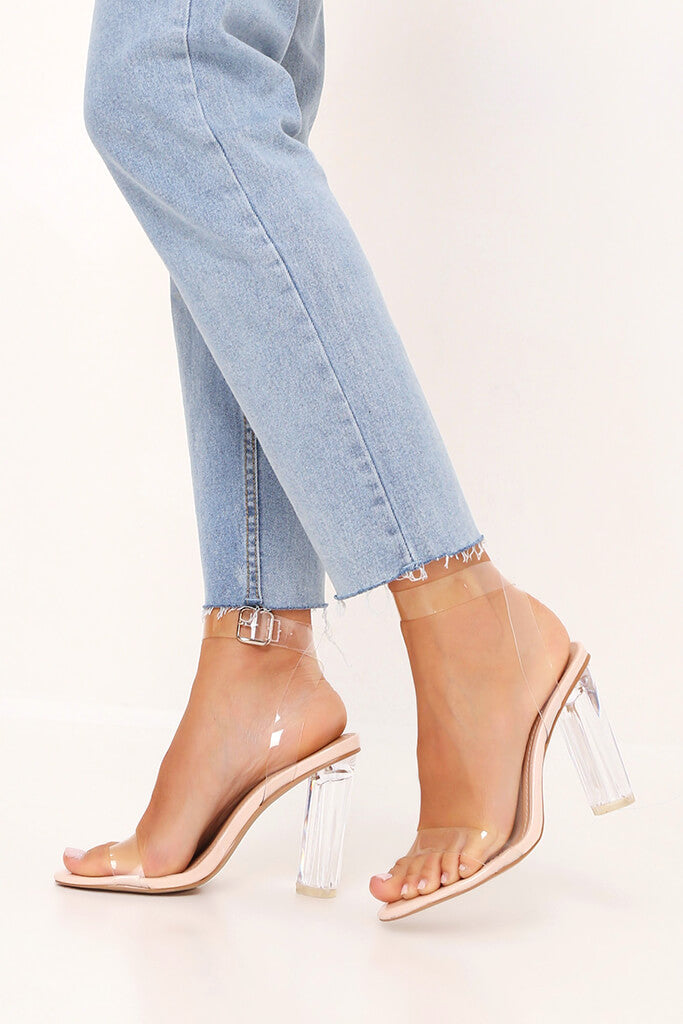 Nude Clear Strap And Perspex Block Heel Sandals view 2