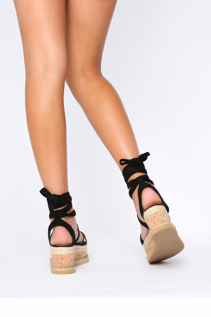 Black Platform Tie Sandals view 3