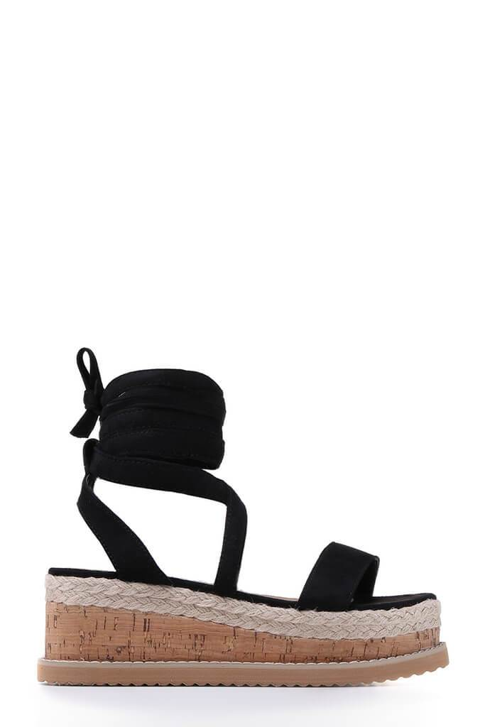 Black Platform Tie Sandals view 4