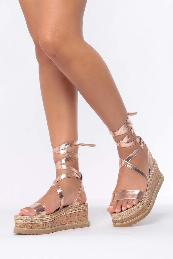 Rose Gold Tie Platform Sandals view 2