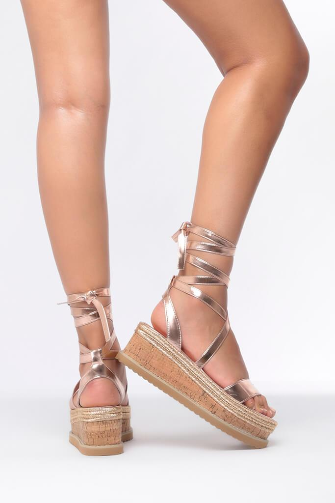 Rose Gold Tie Platform Sandals view 3