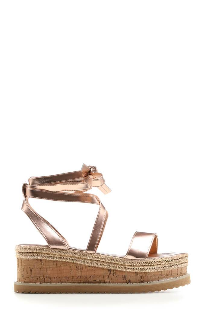 Rose Gold Tie Platform Sandals view 4