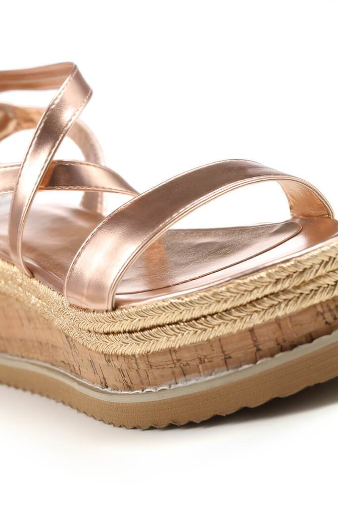 Rose Gold Tie Platform Sandals view 5