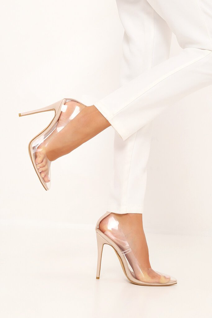 Nude Perspex Pointed Toe Heels view main view