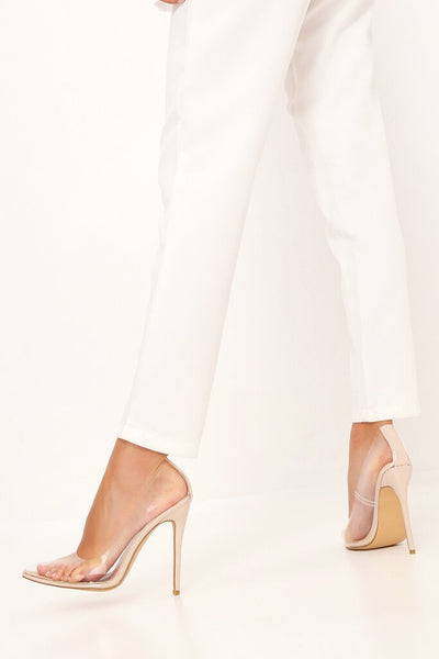 Nude Perspex Pointed Toe Heels