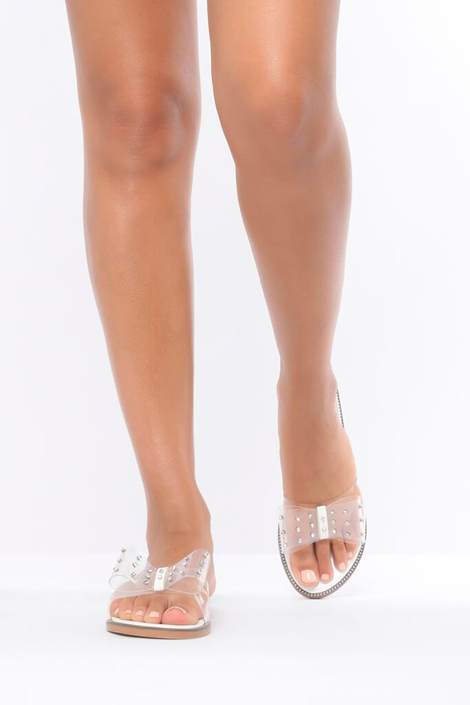White Clear Bow Flip Flop