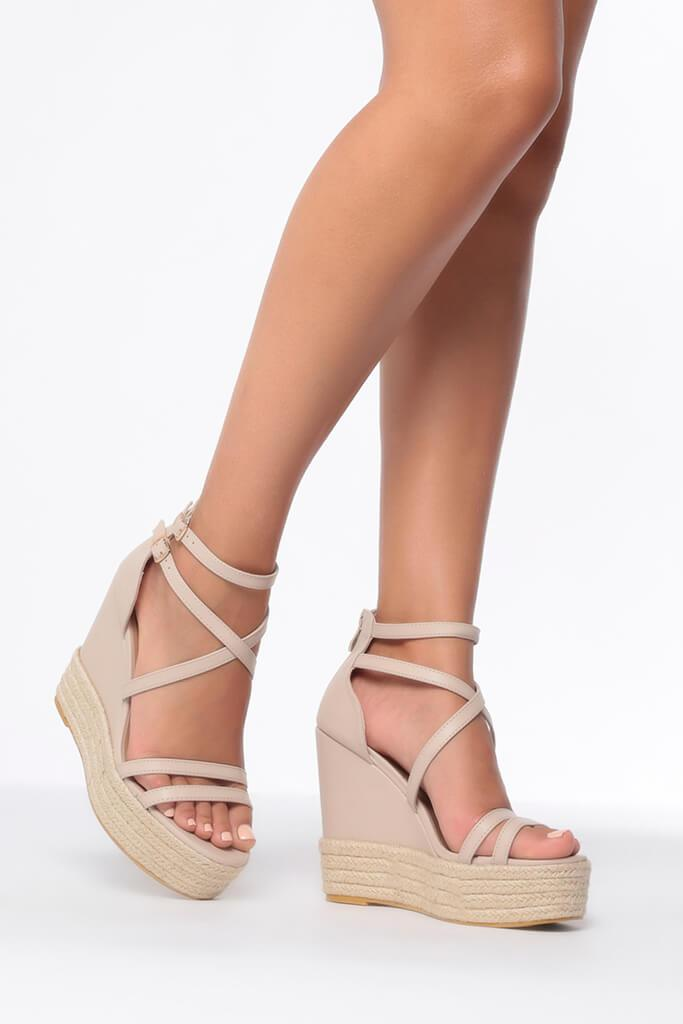 Nude Cross Over Wedges view main view