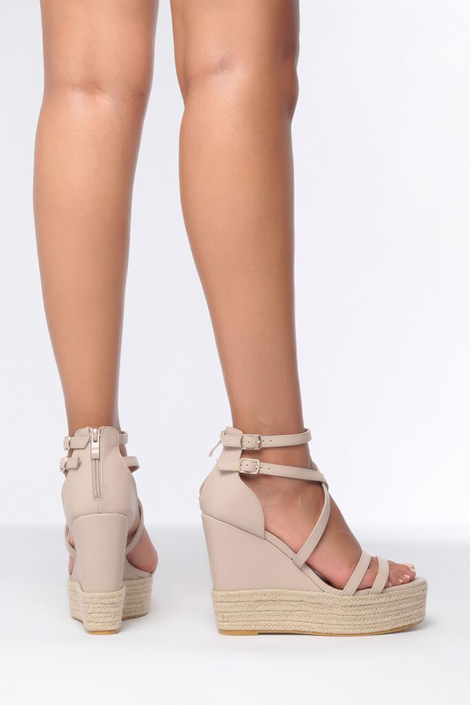 Nude Cross Over Wedges view 3