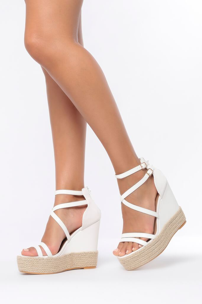 White Cross Over Wedges view 2