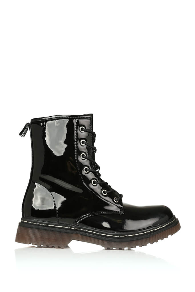 Black Patient Patent Military Lace Up Boots With Chunky Sole view 5