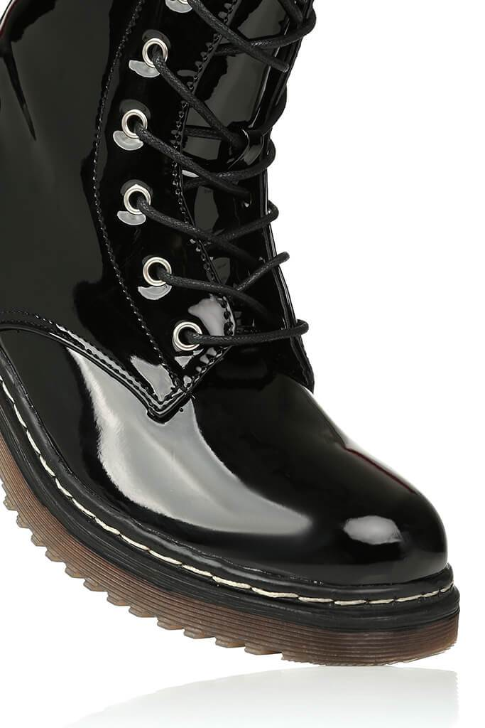 Black Patient Patent Military Lace Up Boots With Chunky Sole view 4