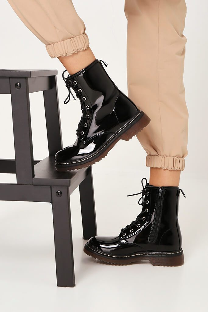 Black Patient Patent Military Lace Up Boots With Chunky Sole view 2
