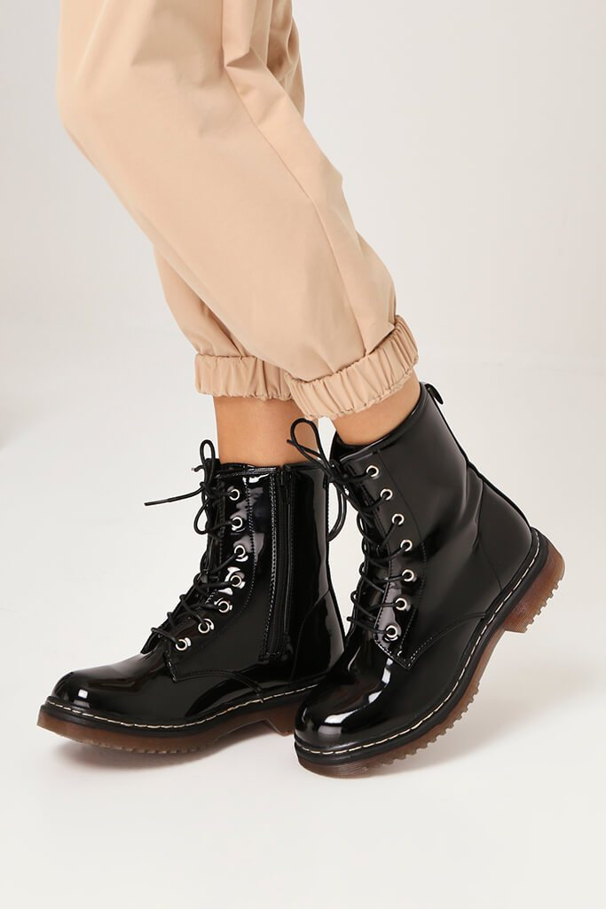 Black Patient Patent Military Lace Up Boots With Chunky Sole