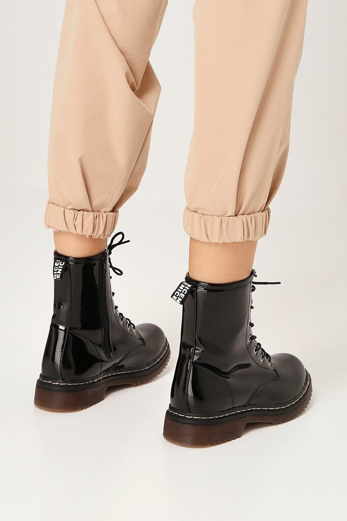 Black Patient Patent Military Lace Up Boots With Chunky Sole view 3