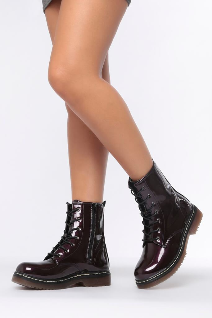 Burgundy Chunky Military Lace Up Boots