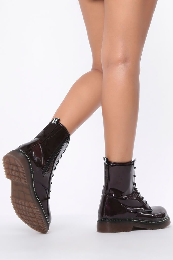 Burgundy Chunky Military Lace Up Boots view 3