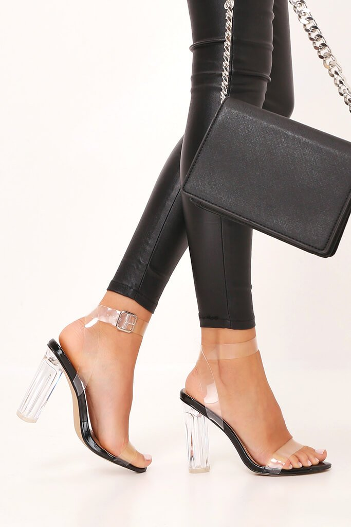 Black Clear Strap And Block Heel Sandals view 2