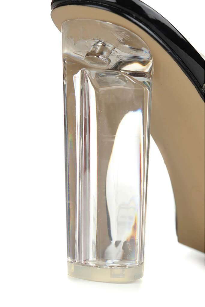 Black Clear Strap And Block Heel Sandals view 5