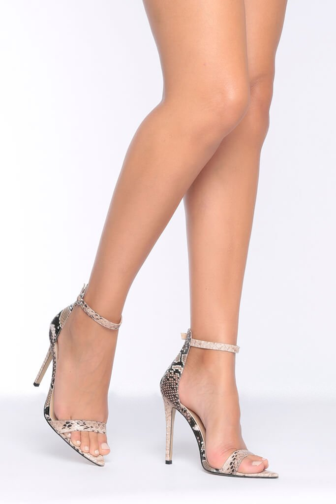 Snake Print Barely There Heels With Pointed Sole