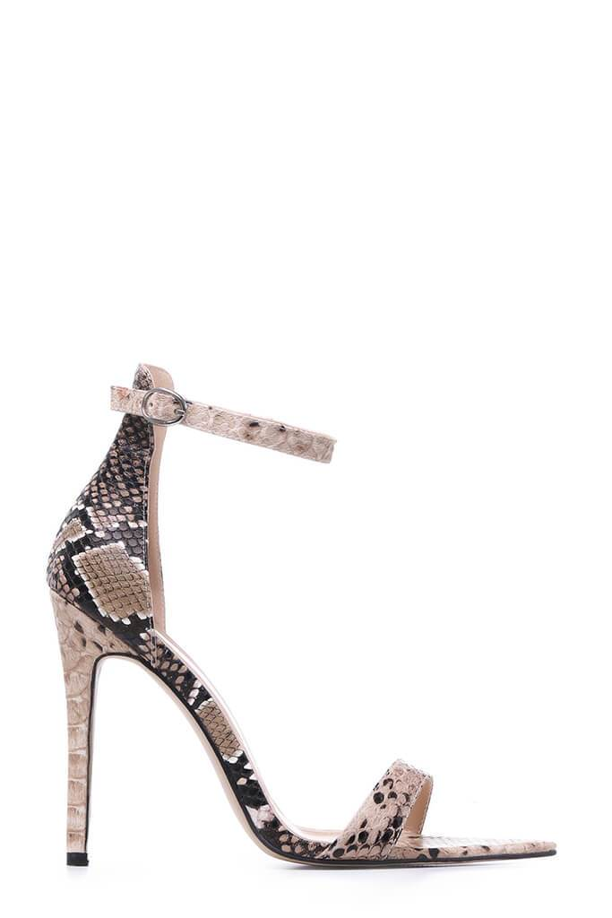 Snake Barely There Heels With Pointed Sole