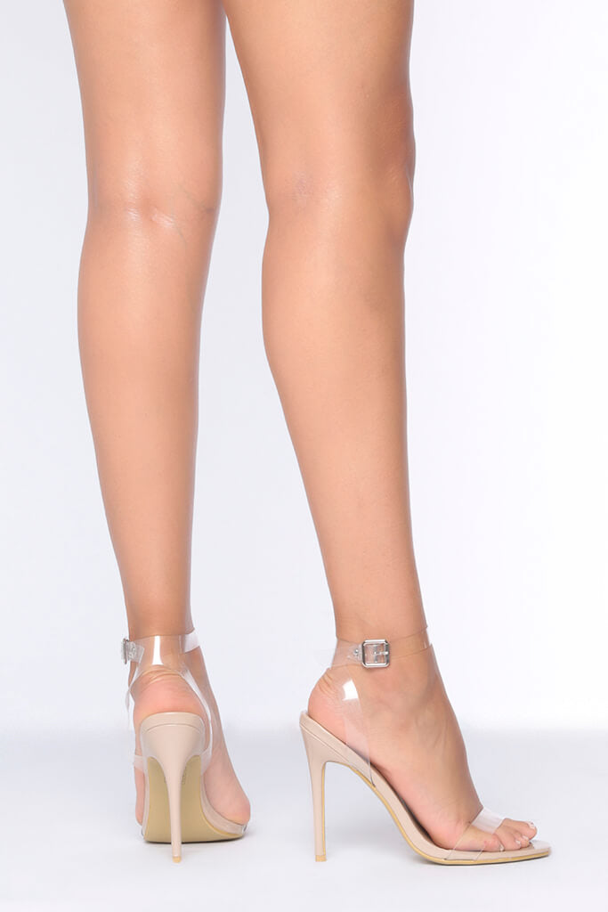 Nude Clear Strap Heels view 3