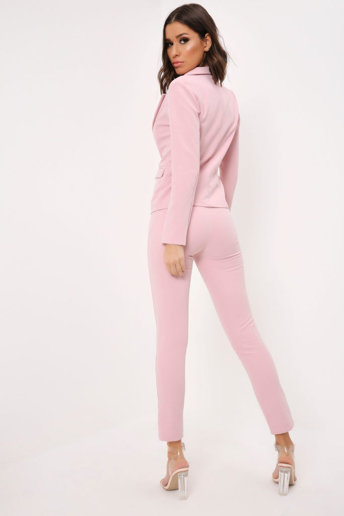 Lightpink Slim Leg Suit Trousers view 5