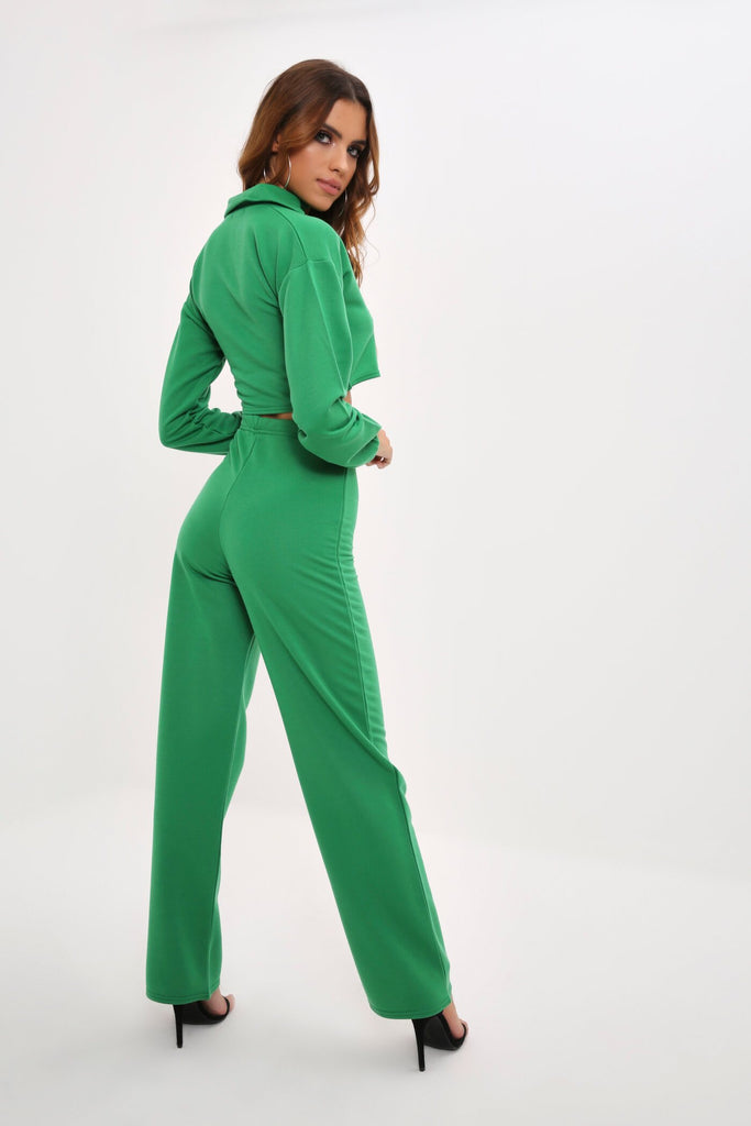 Green Loopback Wide Leg Jogger