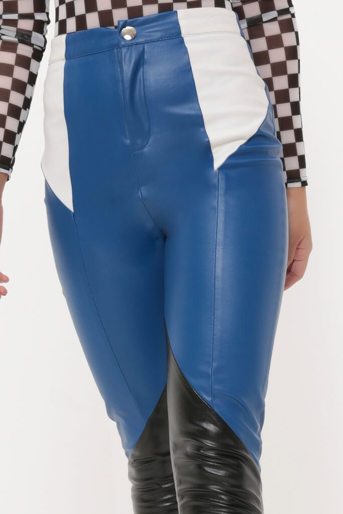 Cobalt / White Colourblock Skinny Pu Trousers