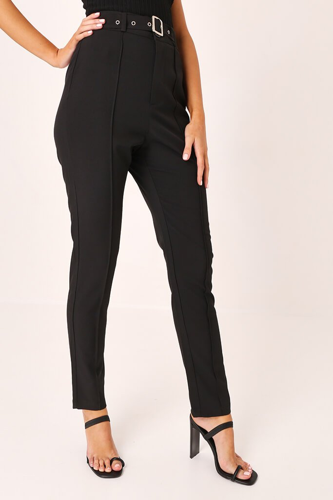 Black High Waisted Belted Trousers view 2