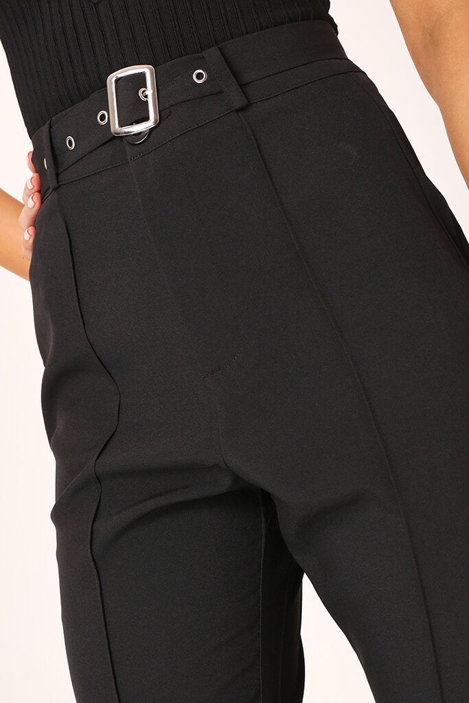Black High Waisted Belted Trousers view 4