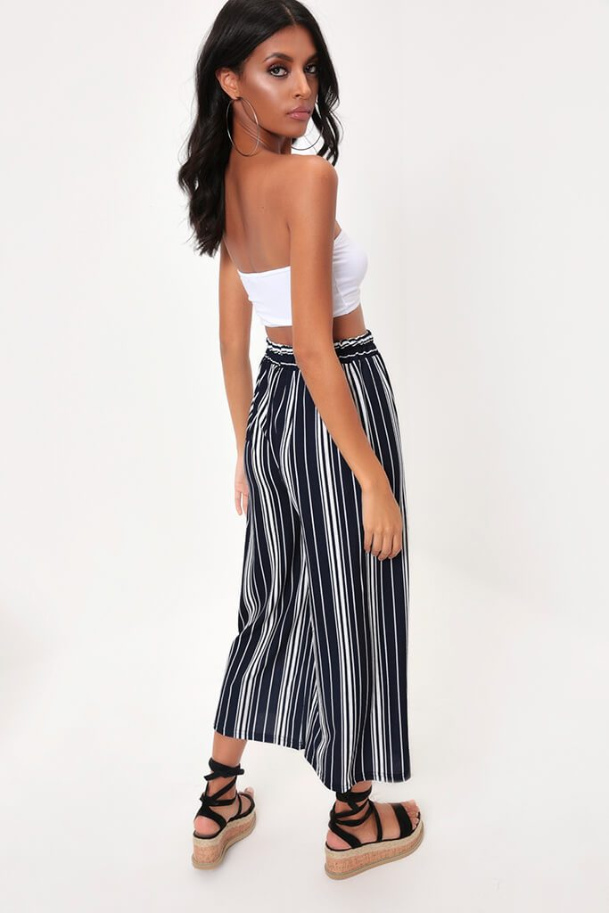 Navy Mix Stripe Cropped Culottes view 5