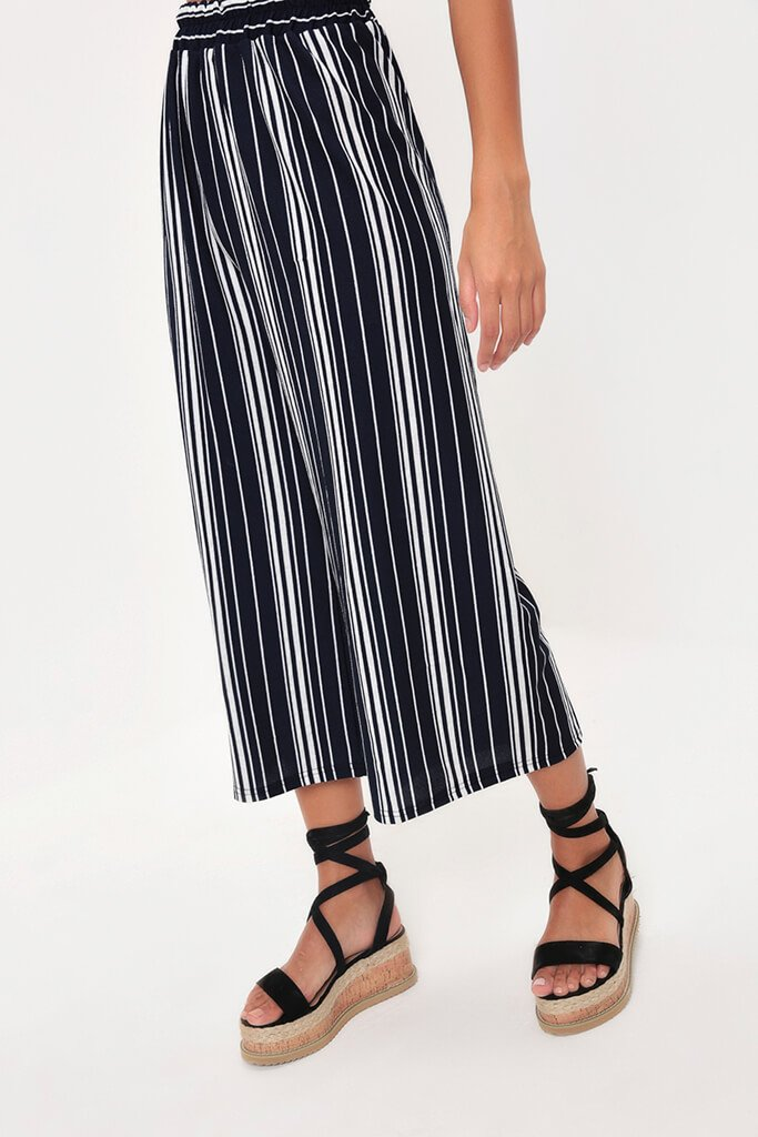 Navy Mix Stripe Cropped Culottes view 2