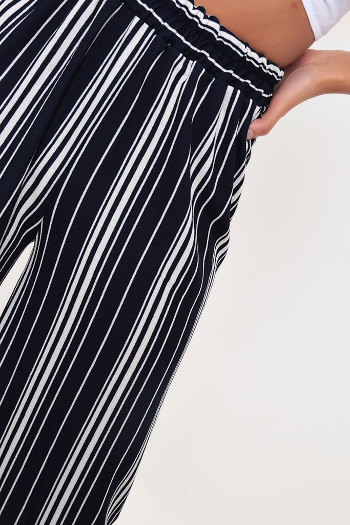 Navy Mix Stripe Cropped Culottes view 3