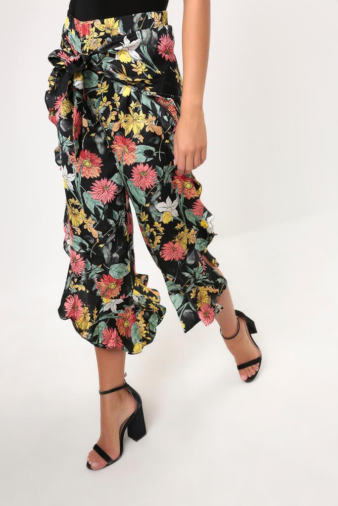 Black Floral Frill Trousers