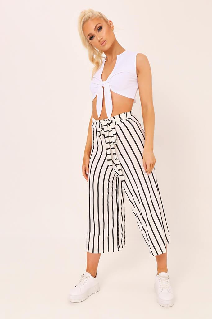 Cream / Black Stripe High Waisted Tie Culottes
