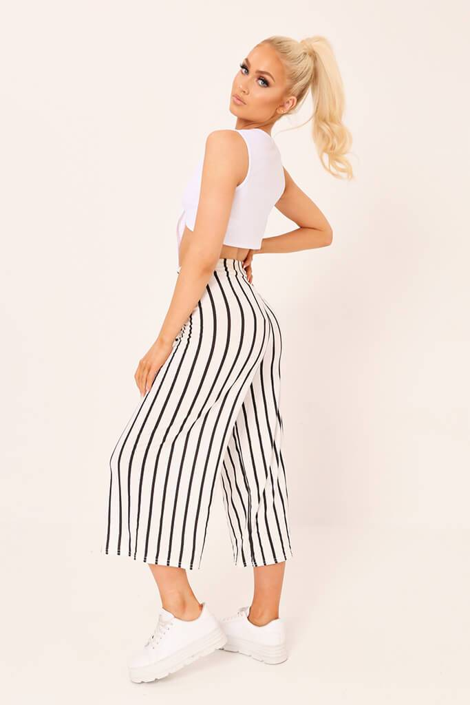 Cream / Black Stripe High Waisted Tie Culottes view 3
