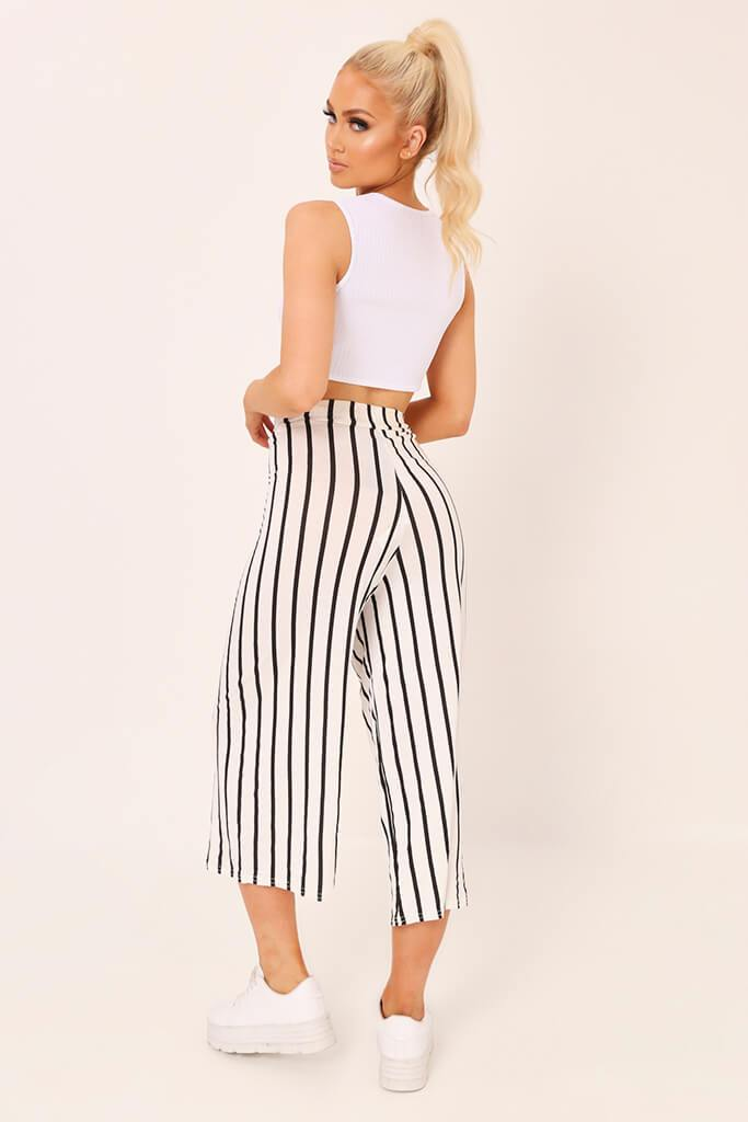 Cream / Black Stripe High Waisted Tie Culottes view 5