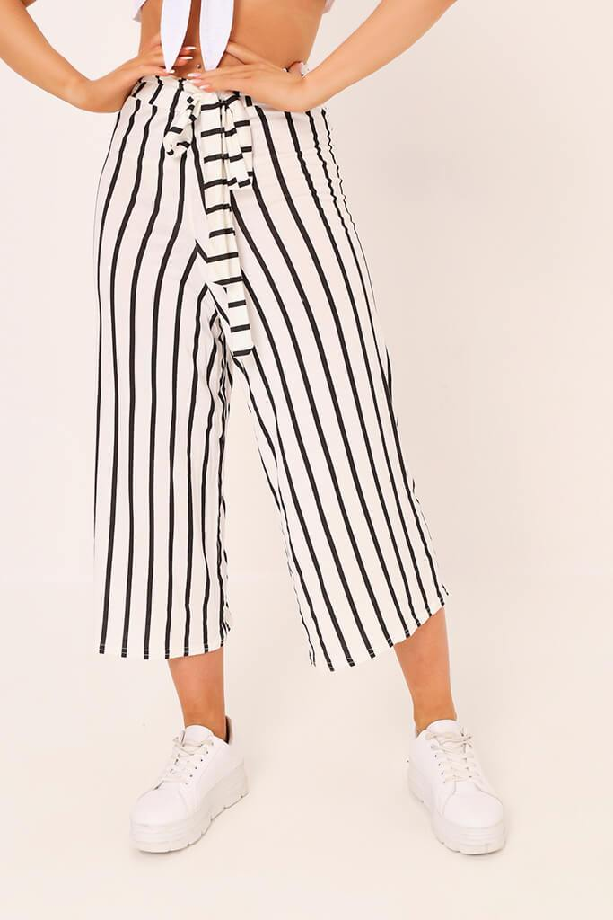 Cream / Black Stripe High Waisted Tie Culottes view 2