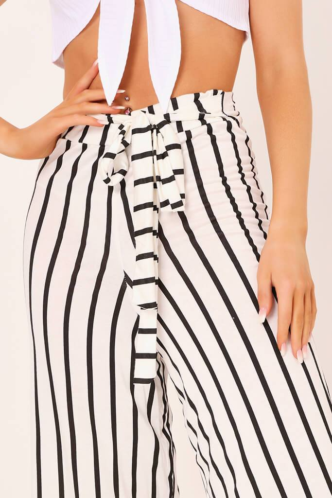 Cream / Black Stripe High Waisted Tie Culottes view 4