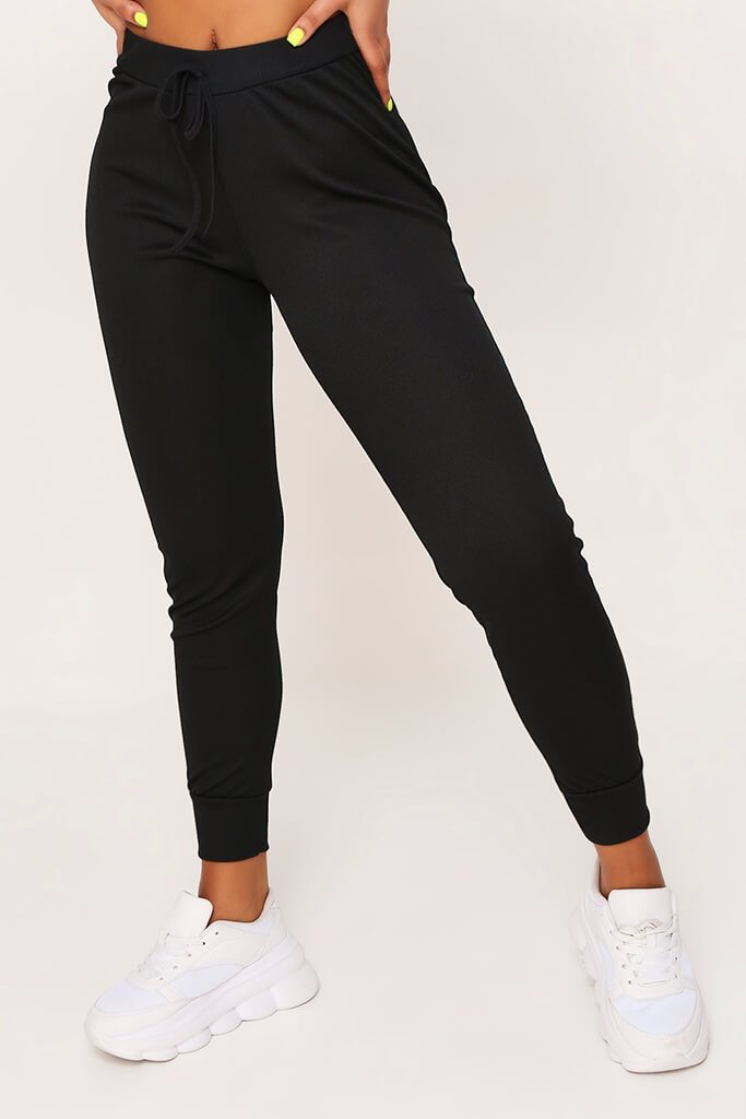 Black Ribbed Joggers view 2