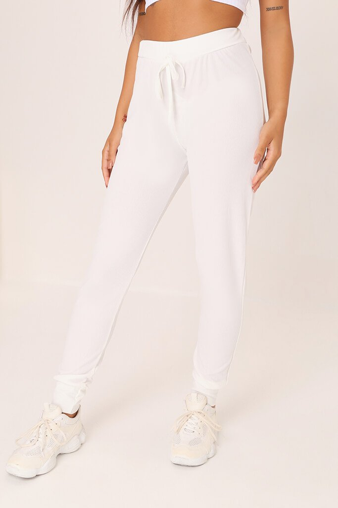 White Ribbed Basic Joggers view 2
