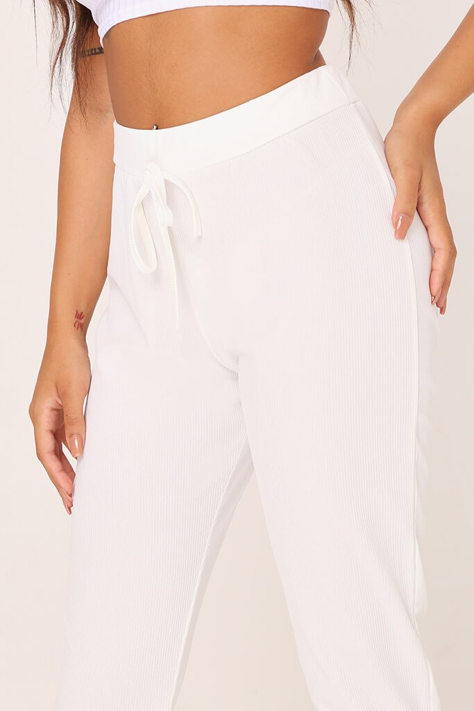 White Ribbed Basic Joggers view 4